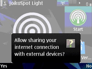symbian hotspot wifi  joikuspot light