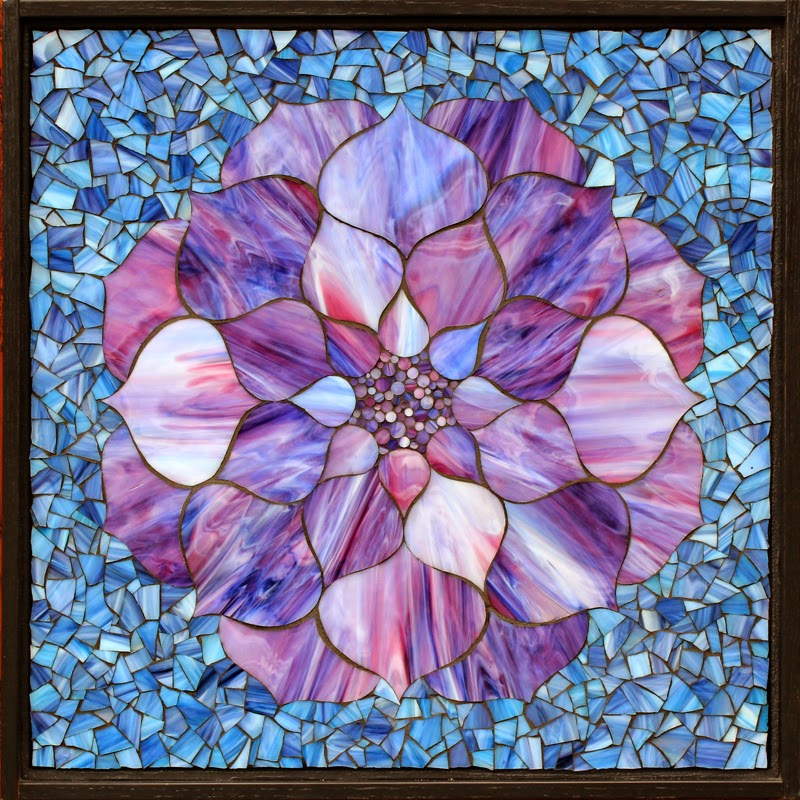 Kasia Mosaics Purple And Blue Lotus Flower Set
