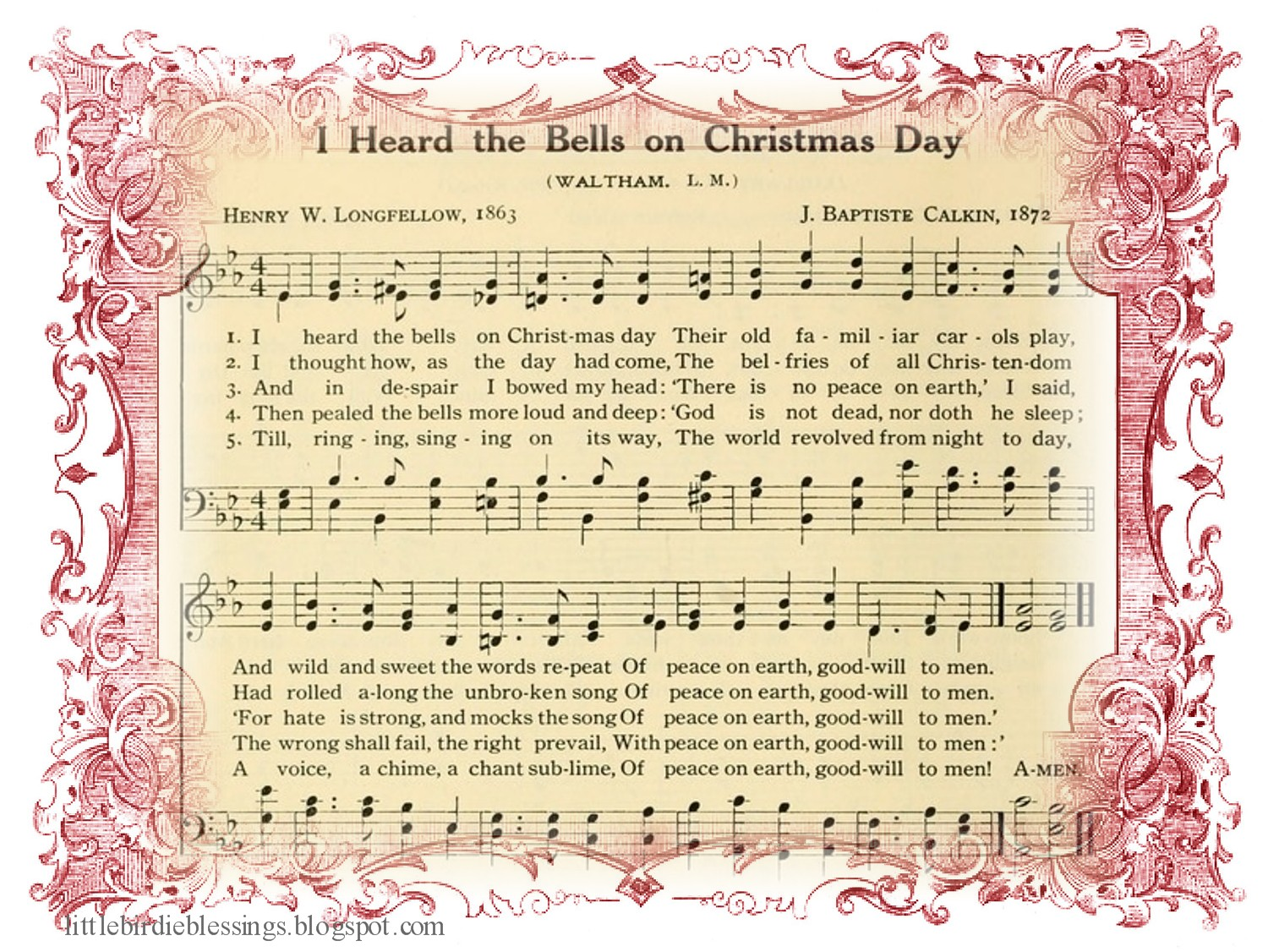 i heard the bells on christmas day their old familiar carols play and wild and sweet the words repeat of peace on earth good will to men - Casting Crowns I Heard The Bells On Christmas Day