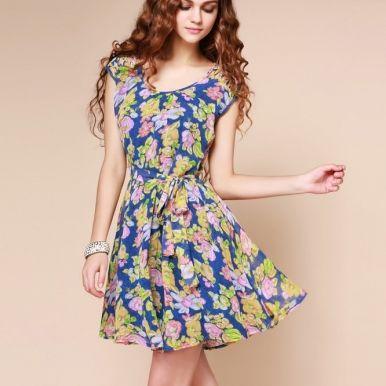 40 model dress cantik motif bunga gaya masa kini desain