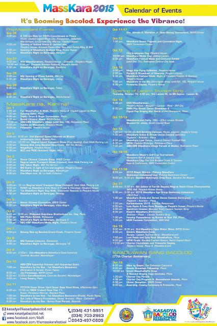 Official Masskara Festival 2015 Schedule