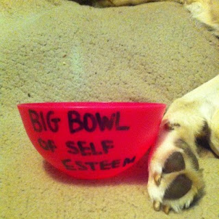 Pink bowl, with 'BIG BOWLOF SELF ESTEEM' handwritten onto the side, a golden dog's paw rests on it.