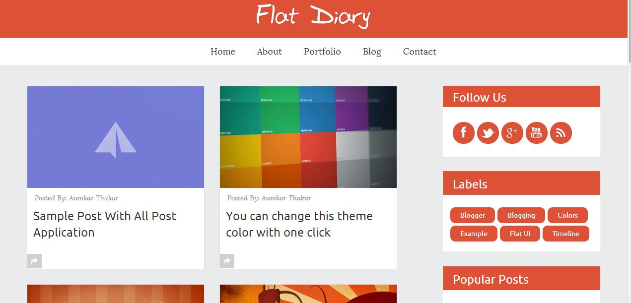 Flat Diary- Responsive Blogger Templates