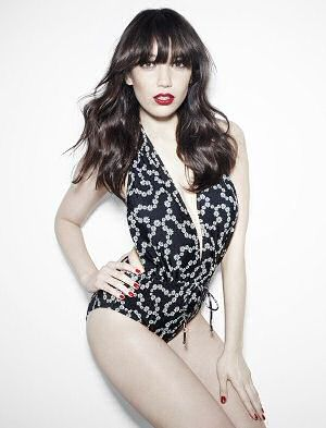 Daisy Lowe models her retail pin up bathing suits for British retail company Peacocks