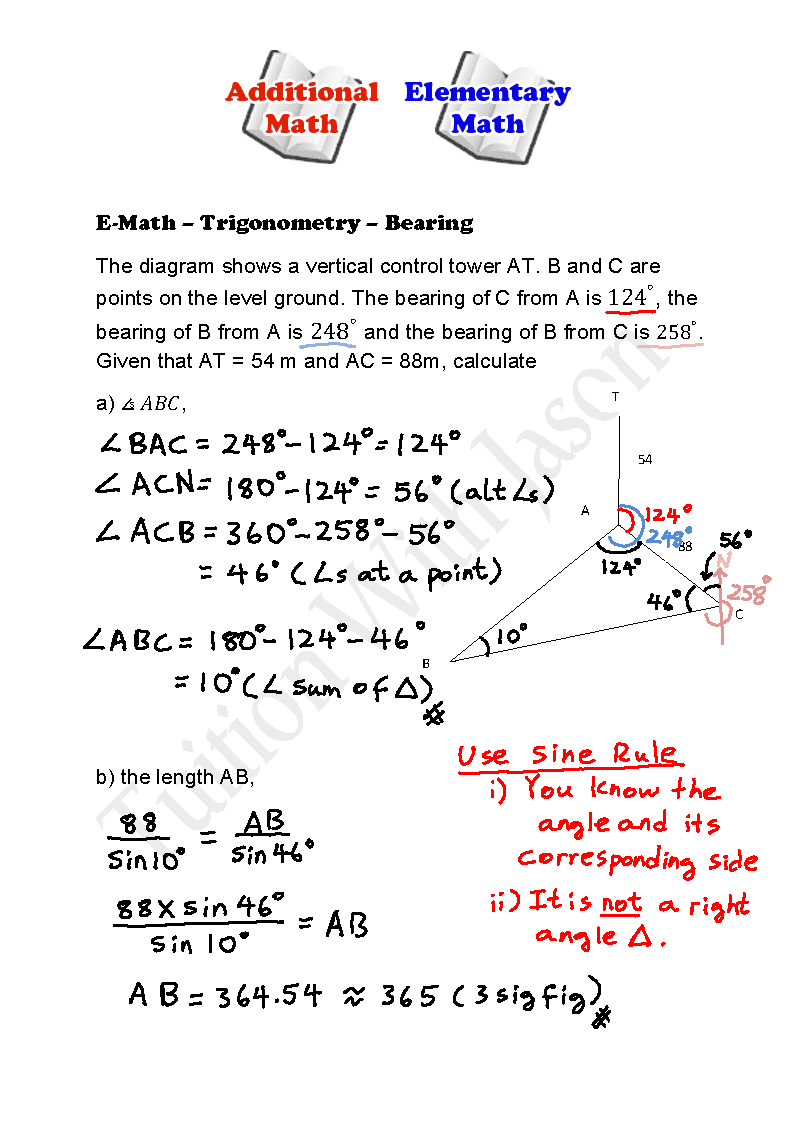 EMath Trigonometry Bearing Angle of Elevation – Angle of Elevation Worksheet