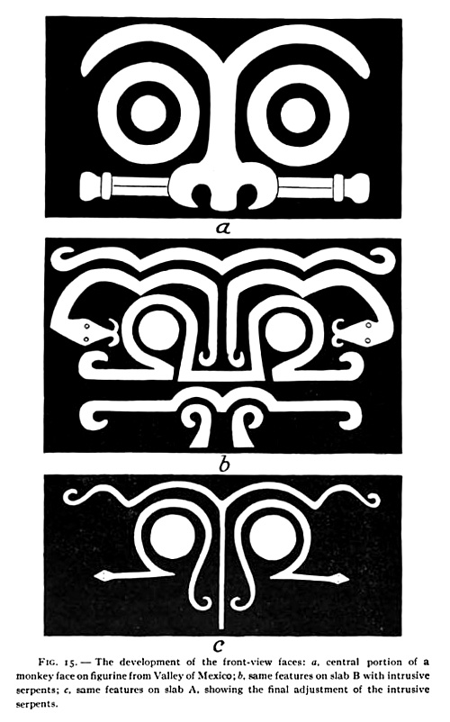 "Three variations of Aztec ""monkey face"" with ""intrusive serpents"""