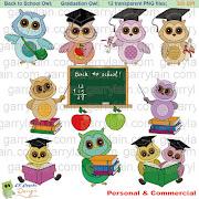 Garry Lain Graphics: School owl clipart, back to school clip art, gradu.