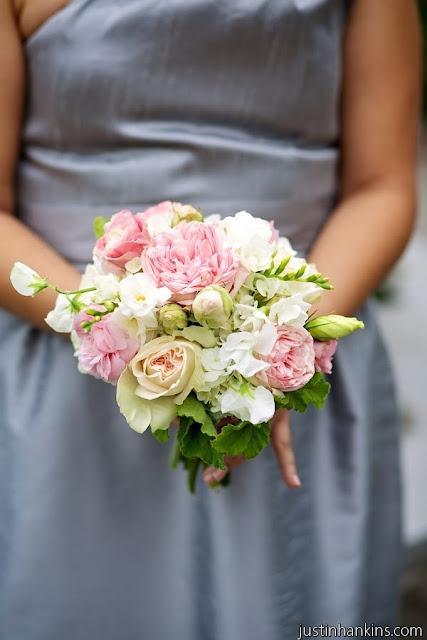 Isha Foss Events Bridal Piano Garden Rose, sweet pea, freesia, scented geranium bouquet