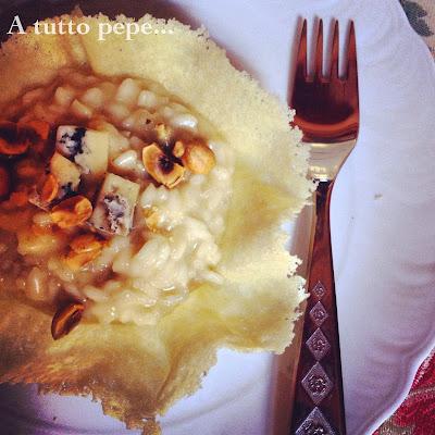 risotto mantecato al bleu d'aoste  con granella di nocciole… e un po' di valle d'aosta!