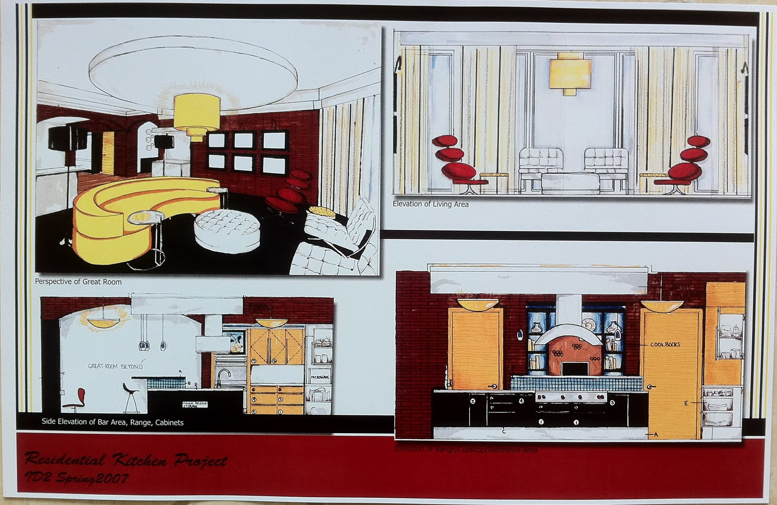 of Bar Area/Range/Cabinets, Elevation of Bar Area/Range/Cabinets