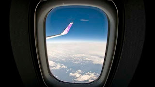 wing, plane, airplane, sky, clouds, window, inside