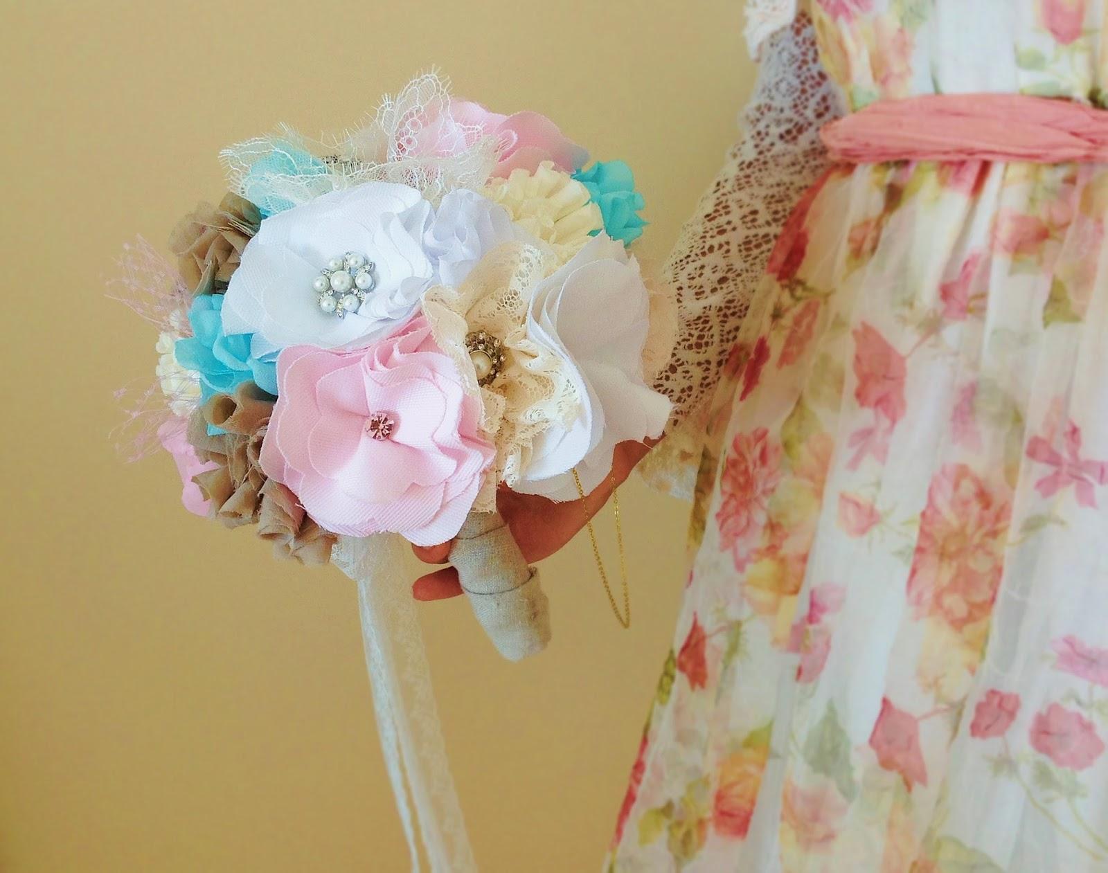 Bridal bouquet fabric flowers