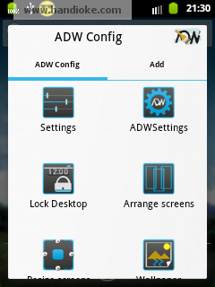 ADW Config ► pilih tab Add