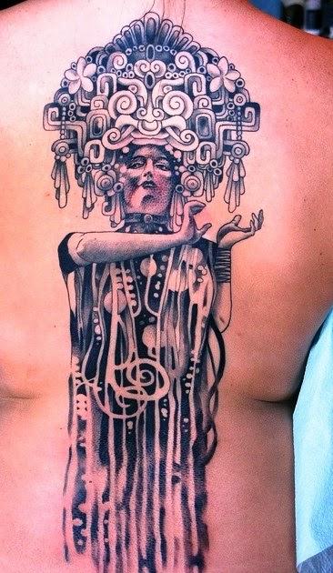 "Back tattoo inspired by Gustav Klimt ""Hygeia"" painting"