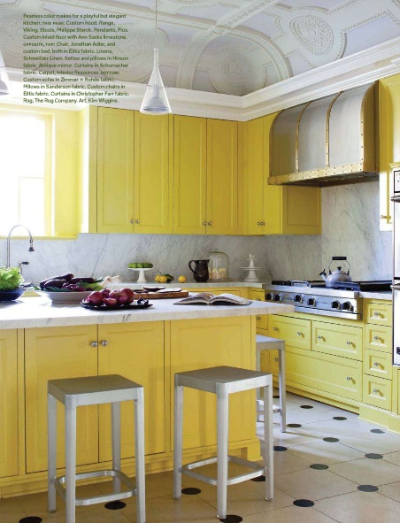 Kitchen of the week Yellow Cabinet Kitchen + Coffered Ceiling