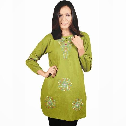 baju hijau lengan panjang bahan katun