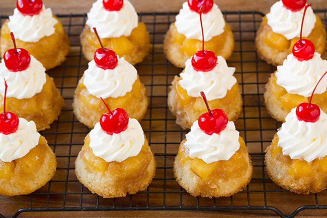 Pineapple Upside Down Cupcakes Recipe by cookingclassy.com http://goo.gl/xYOGcD