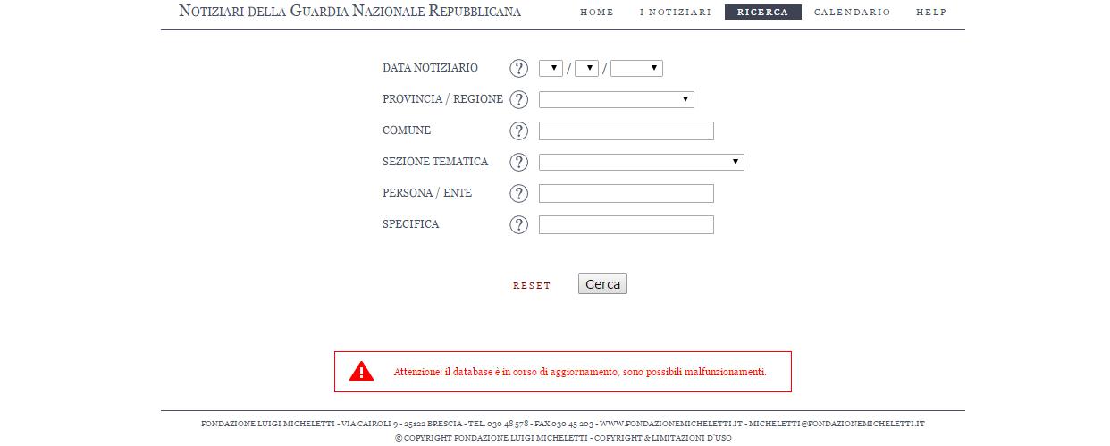 Notiziari della GNR  - Banca dati online -