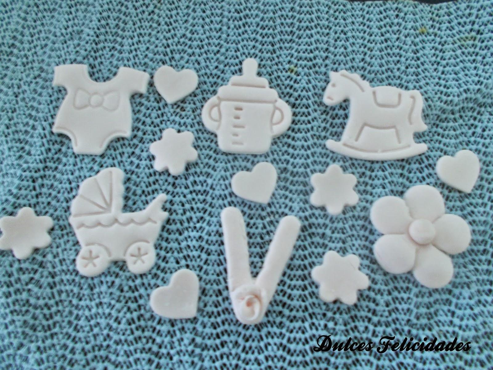 Decoraciones fondant cupcakes bebé