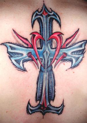 Gothic Tribal Cross Tattoos