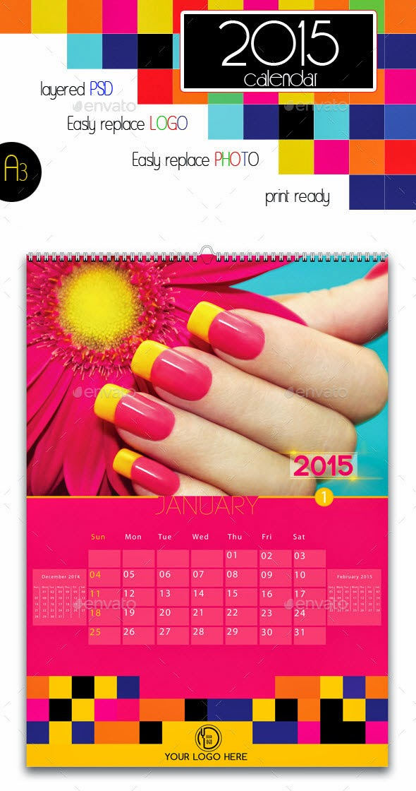 2015 Colorful Wall Calendar A3