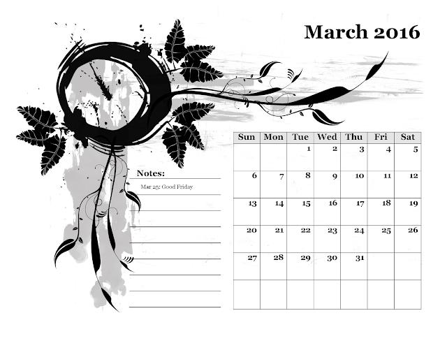 Calendario mensile - Marzo 2016