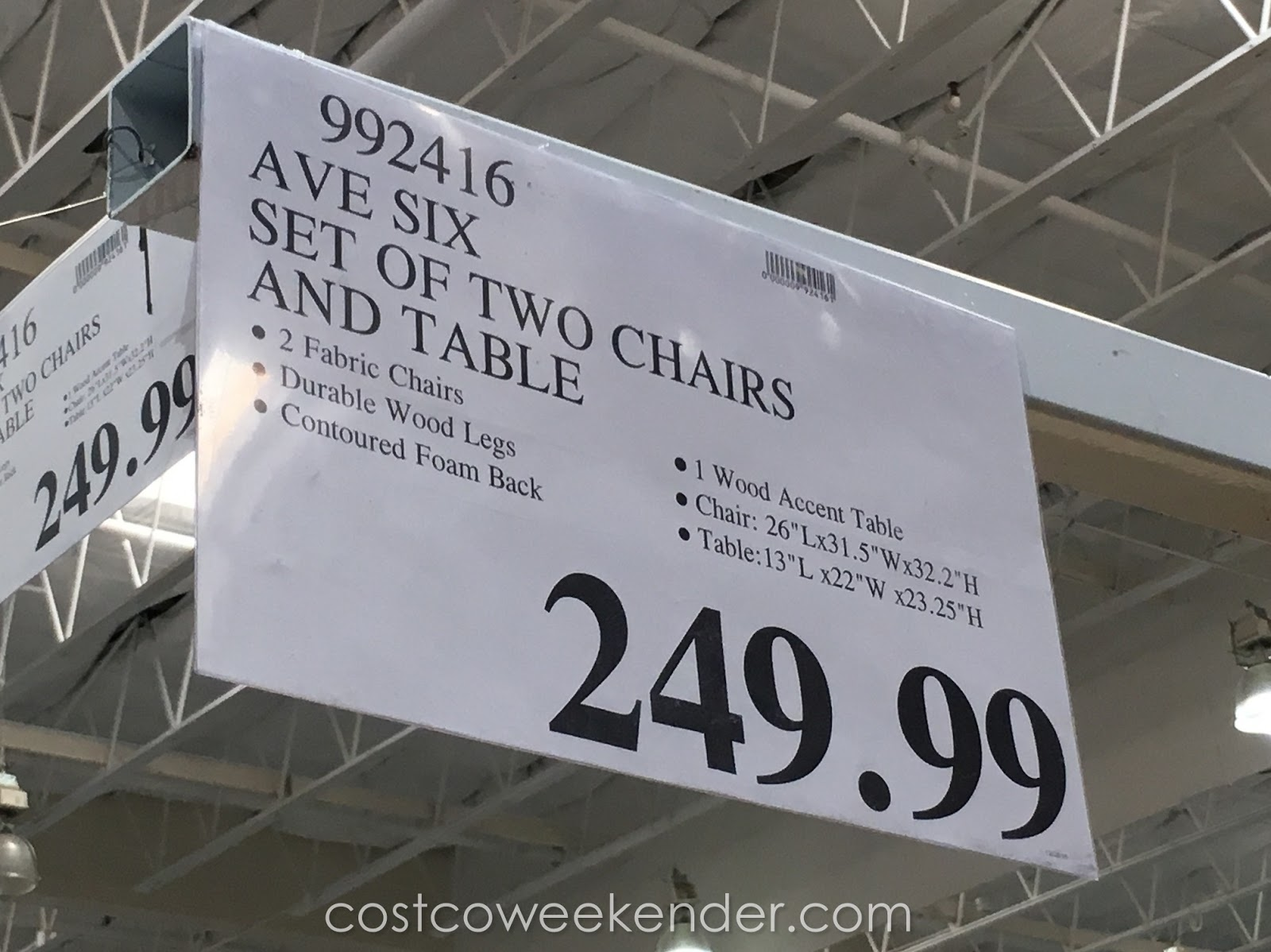 Deal for the Avenue Six 3 Piece Chair and Accent Table Set at Costco