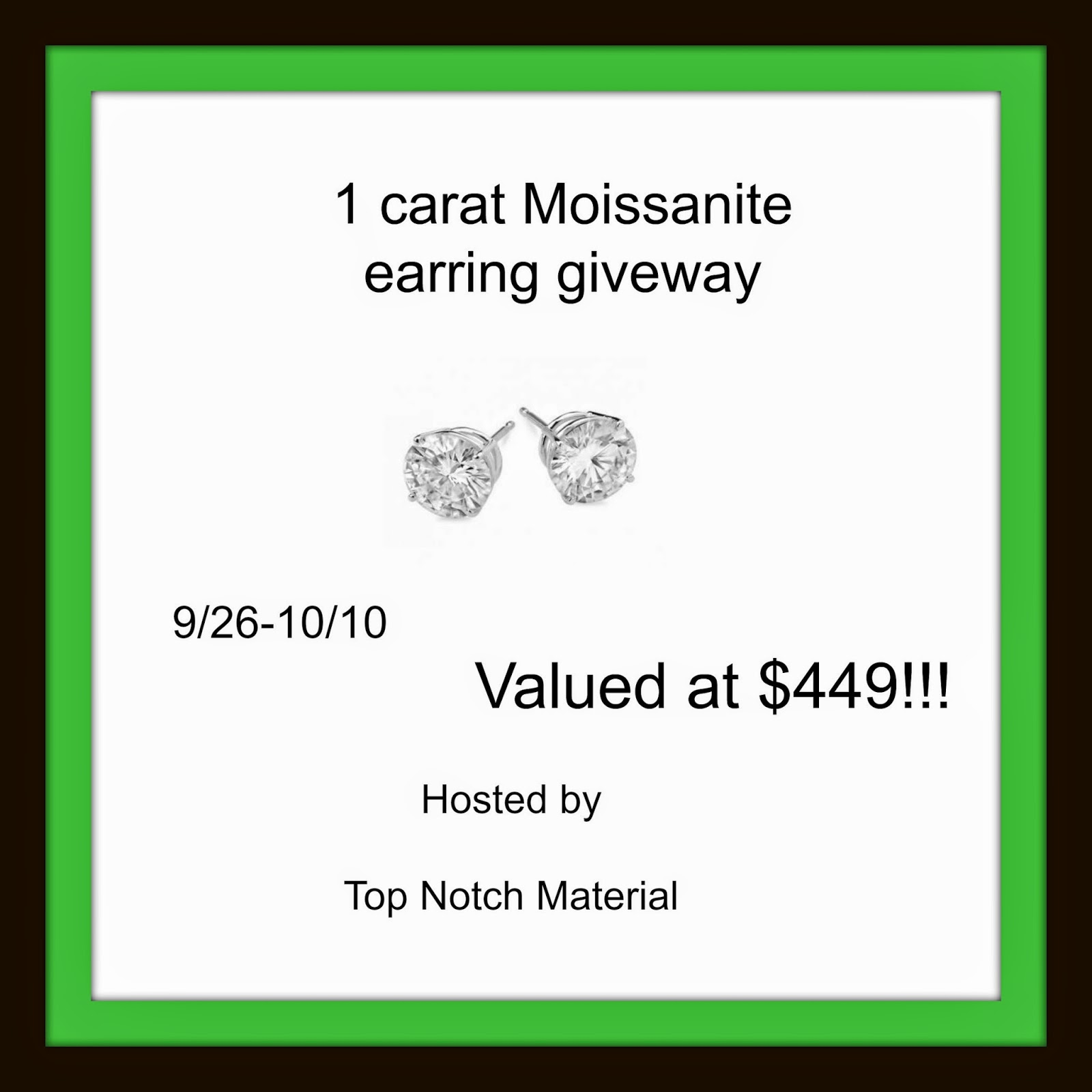 Enter the Moissanite Earring Giveaway. Ends 10/10.