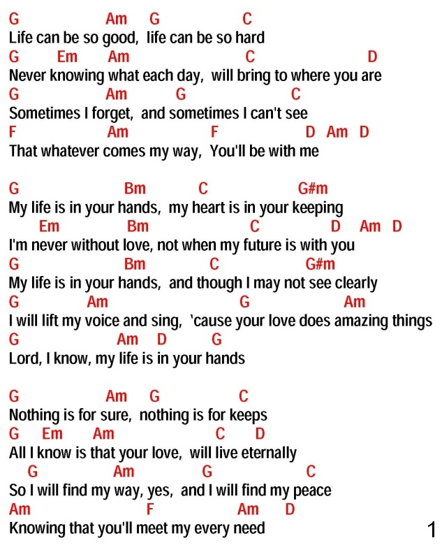 Lyric all i know lyrics : MY LIFE IS IN YOUR HANDS (Kathy Troccoli) - lyrics and chords ...
