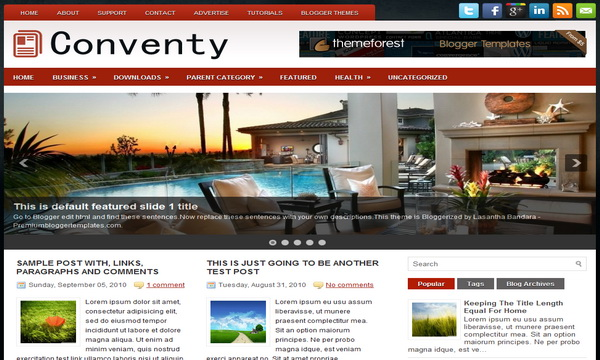 Conventy 2 Column Blogger Template