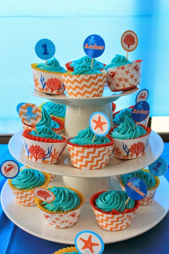 party printables, under the sea party, white chocolate mud cake, recipe, cupcakes, kids party ideas, kids party food, party decorations