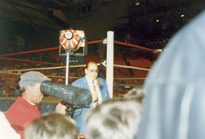 Gorilla Monsoon tapes a stand-up at ringside at Maple Leaf Gardens for CHCH-TV's WWF Wrestling programming.