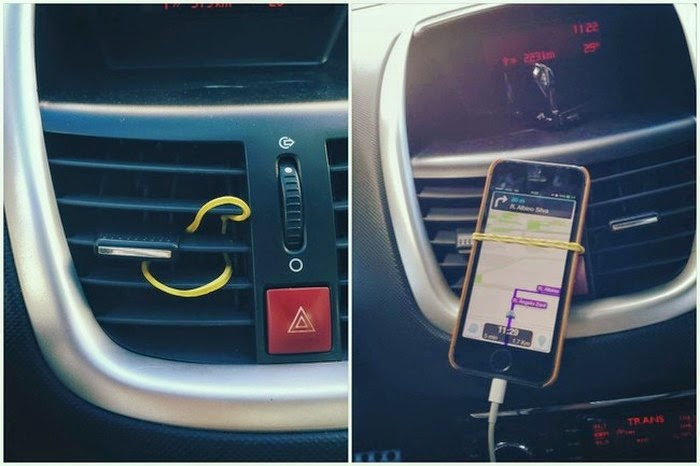 But You Can Make It Easier On Yourself By Incorporating These Cool Hacks.  Weave A Rubber Band Through An Air Vent To Create A Nifty Hands Free Phone  Holder.