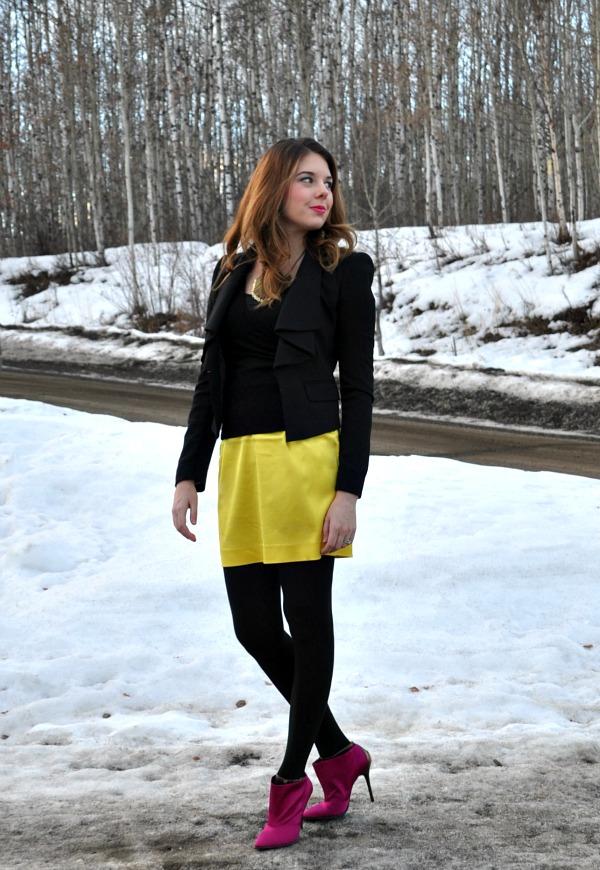 Yellow Mini Skirt and Pink Booties