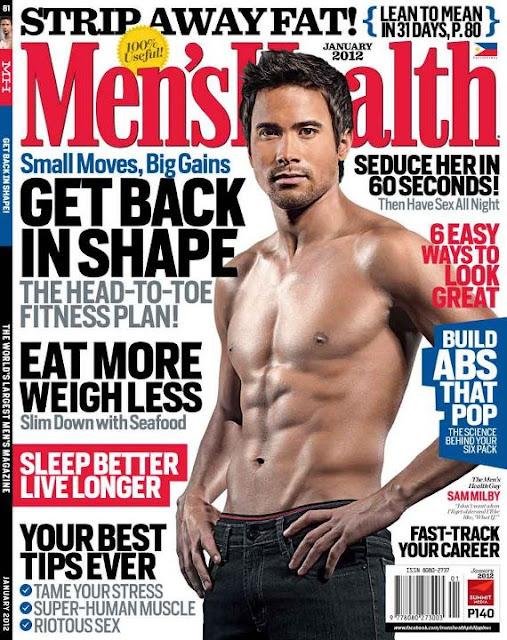 Sam Milby Covers Men's Health Magazine January 2012 Issue
