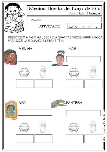 Atividade Menina Bonita do Laço de Fita Leitura e Escrita Dia da Consciência Negra