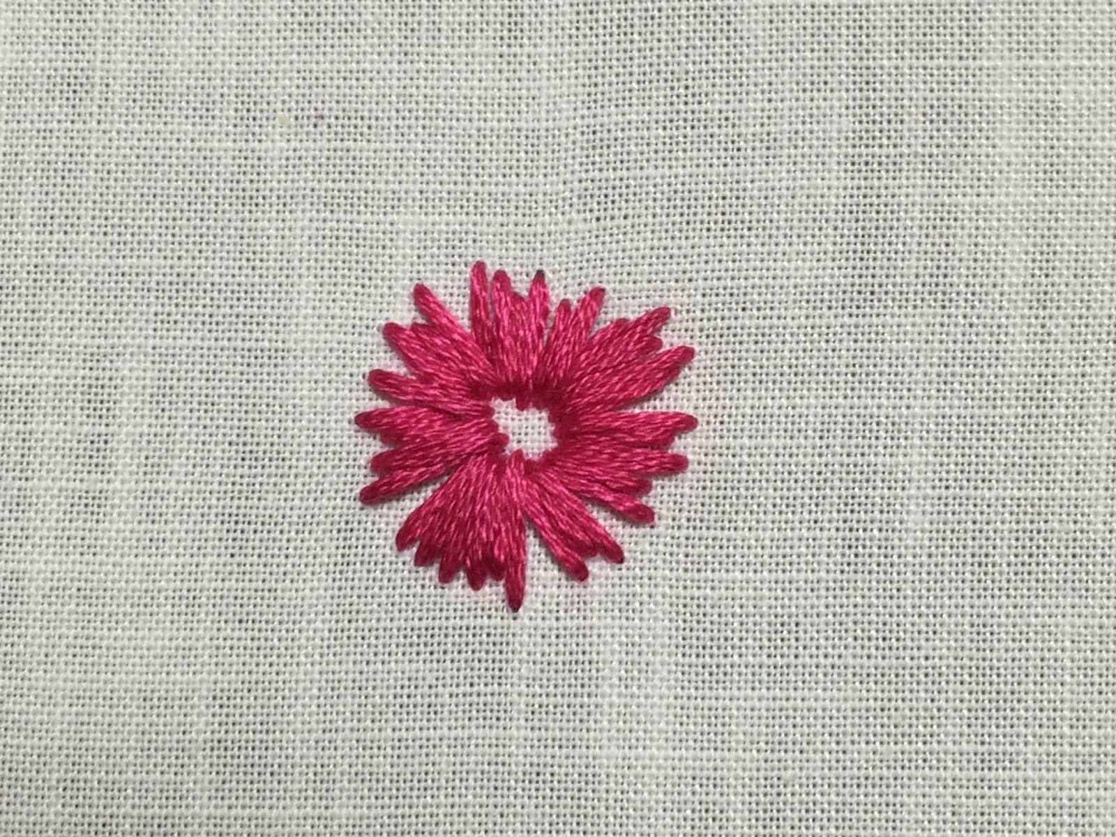 straight stitch embroidered flowers