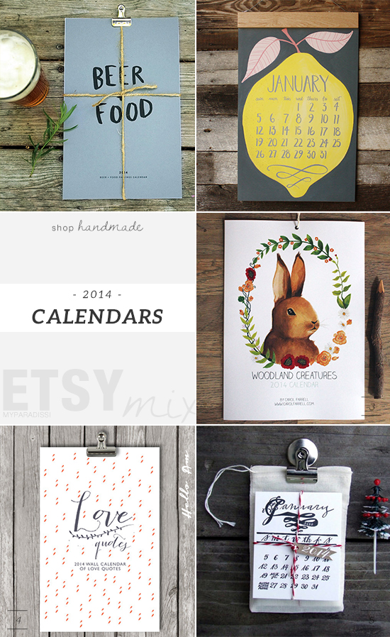 Handmade 2014 wall calendars on etsy. Picks by My Paradissi