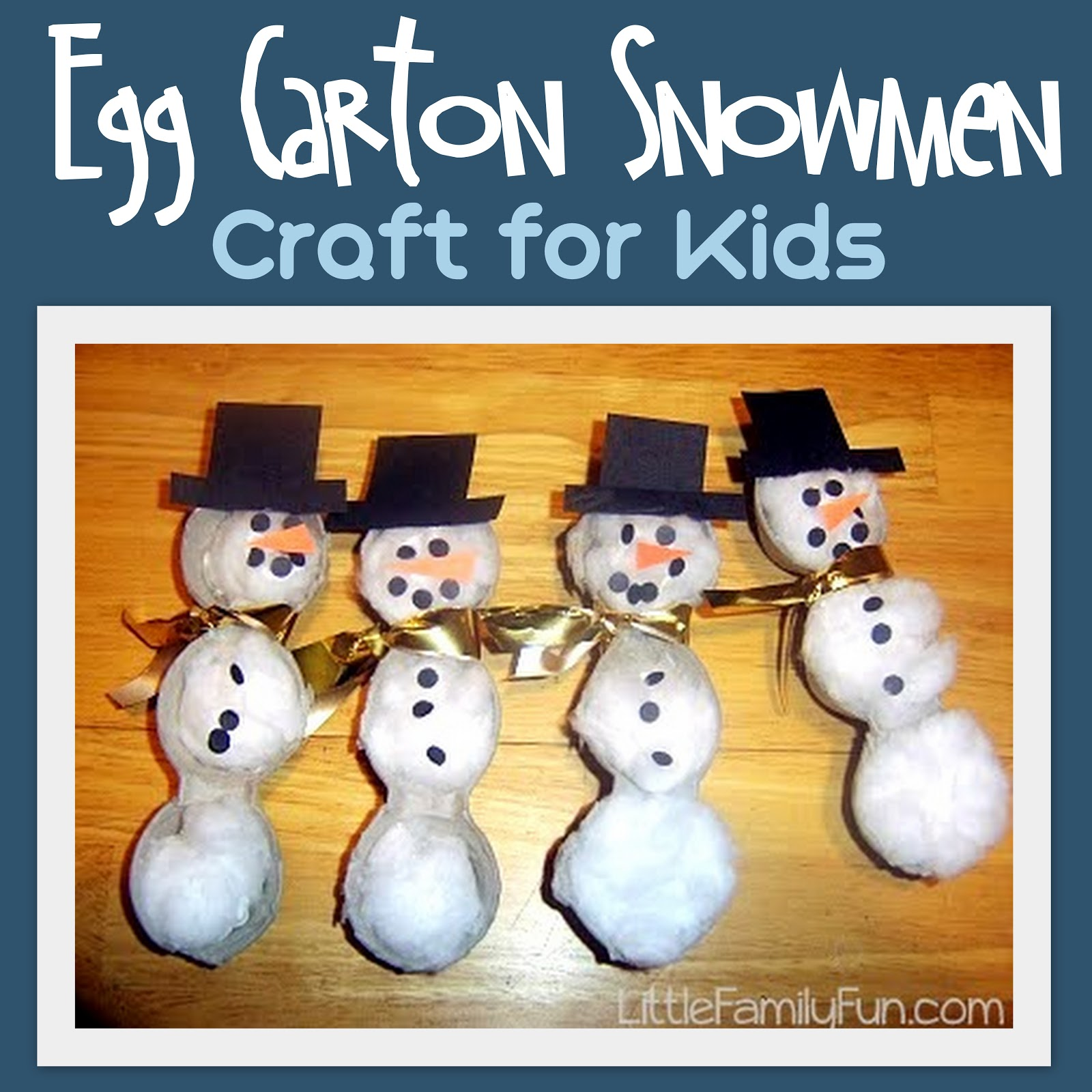 Dec 19 egg carton snowmen for Winter holiday crafts for kids