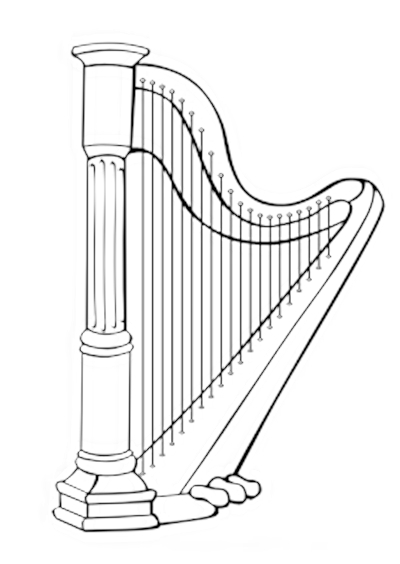 Instrumentos Musicais para colorir Harpa para colorir