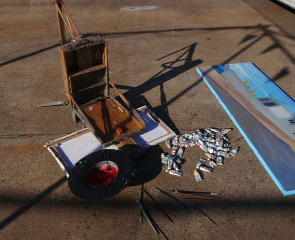 Artists easel and palette Ex-HMAS Adelaide at Glebe Island wharf plein air oil painting by artist Jane Bennett
