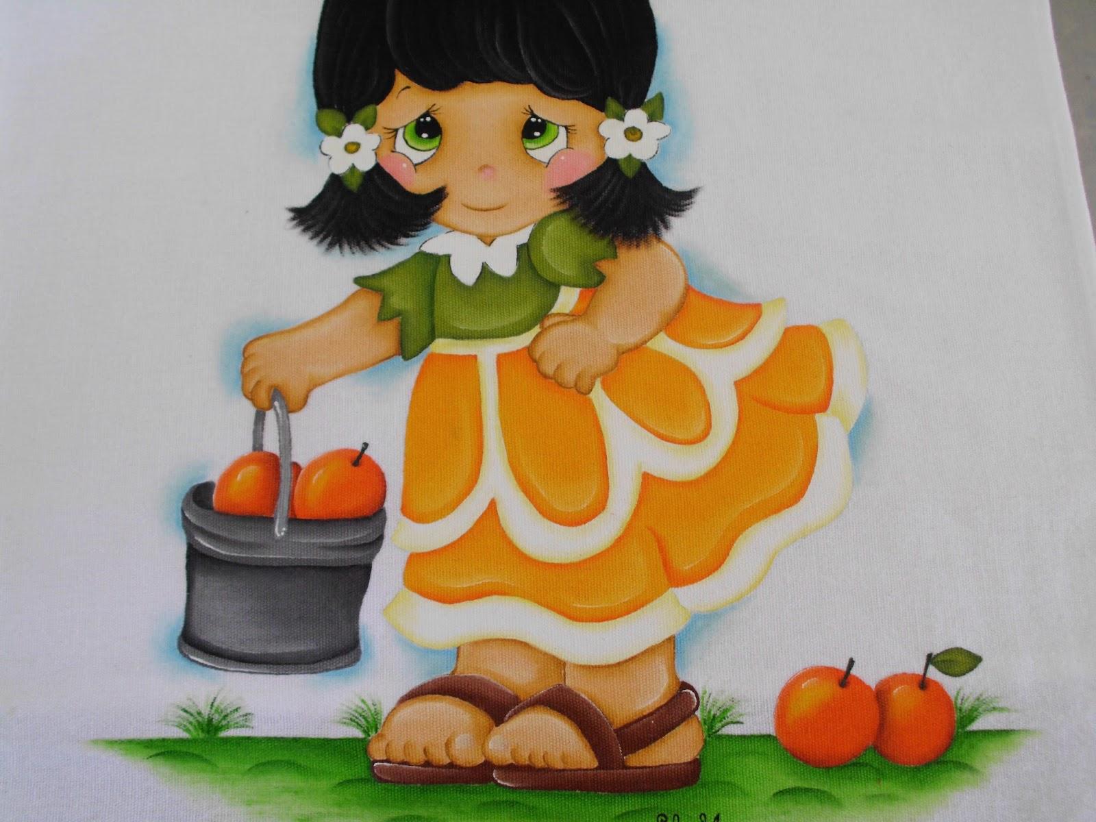 Lili e a arte pintura em pano de prato laranjinha for Comedor de frutas para bebe