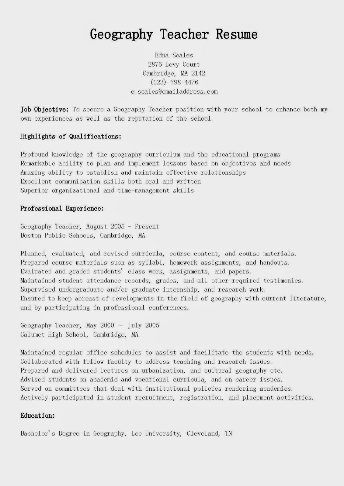 Resume Samples Geography Teacher Resume Sample