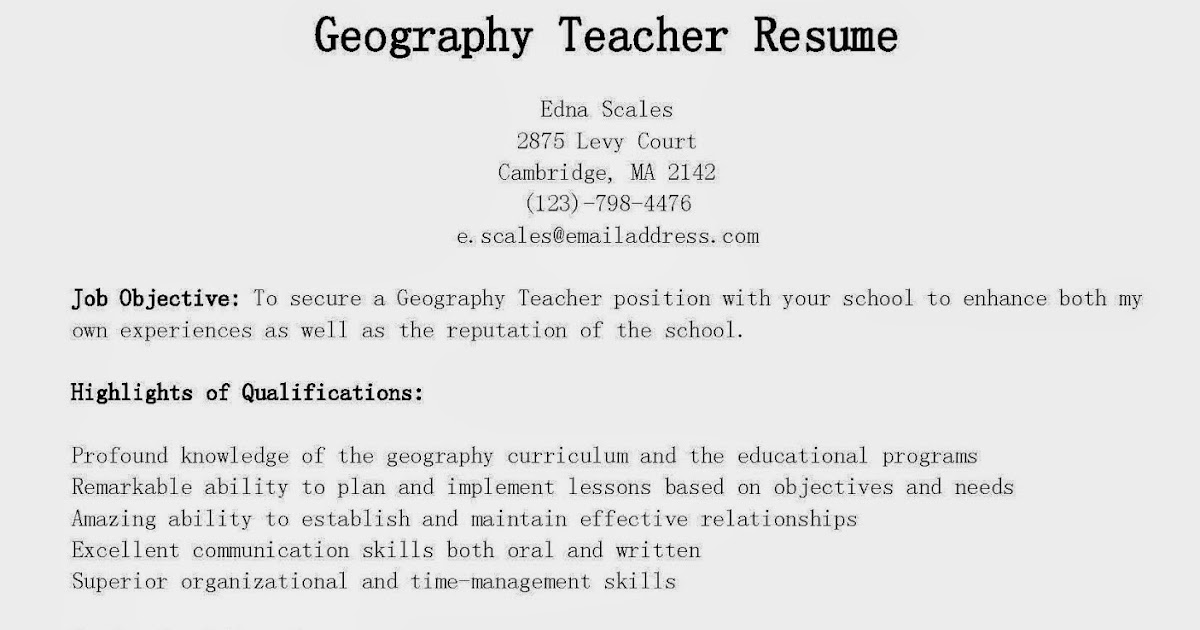 Ma Teacher Resume Sample - Apigram.Com