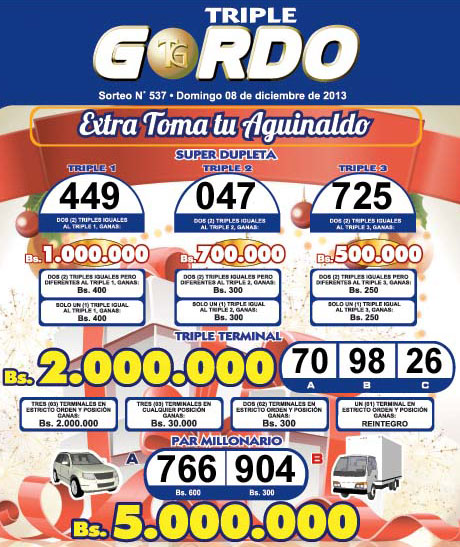 Triple Gordo Sorteo 537