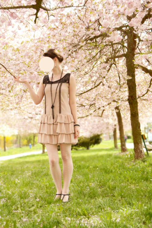 sakura, pink, dress, pastel romantic, flapper, 1920s
