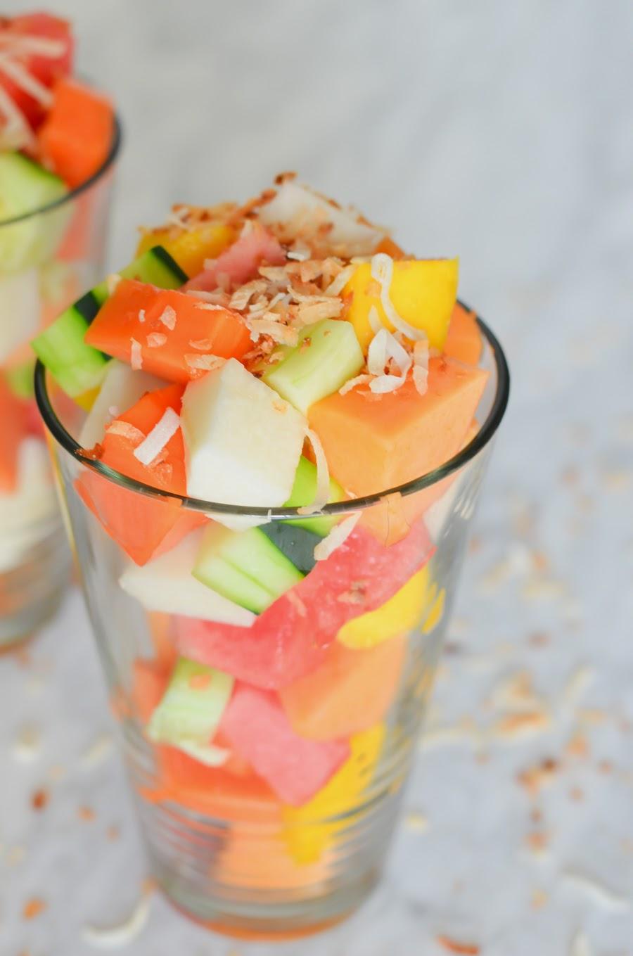 Los Angeles Fruit Cart Salad w. Mango, Papaya, Watermelon, Jicama, & Cucumber Summer Recipe   Luci's Morsels :: LA Food Blogger