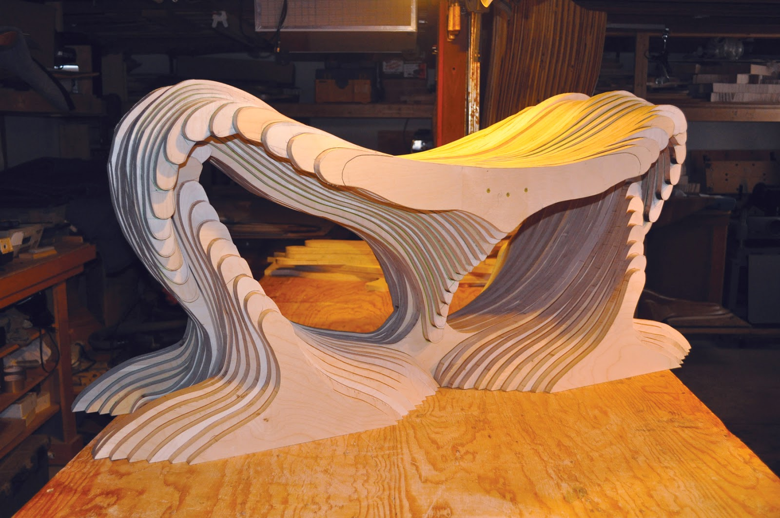 Latest Work In Progress 2017 Baltic Birch Plywood Embled And Ready To Refine Curves By Carving This Will Function As A Bench Or Table