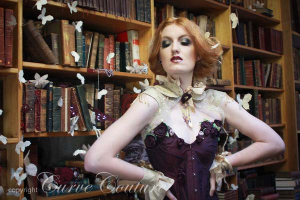 Silk corset with handmade flower and crystal details