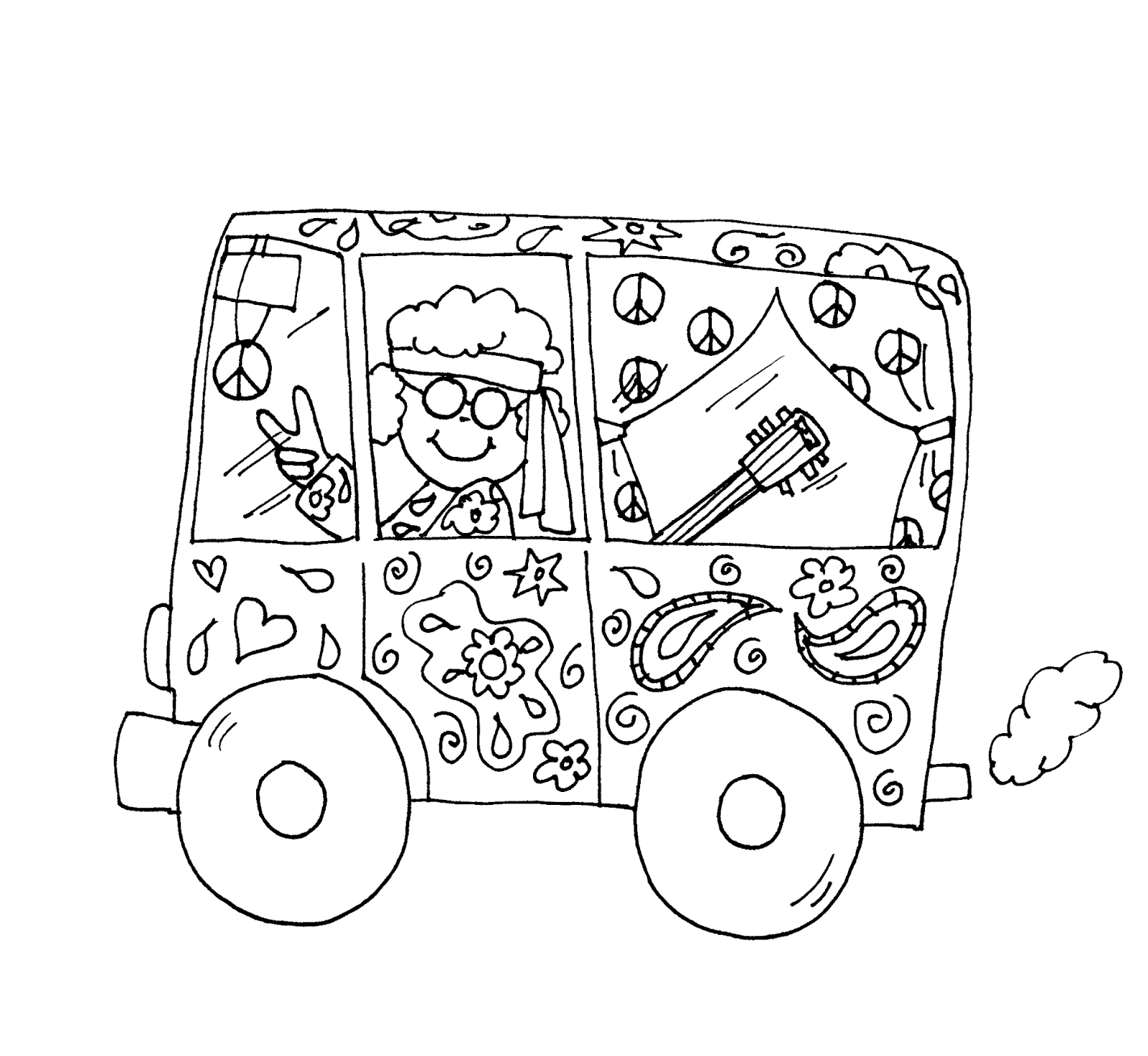 hippie van coloring pages trippy hippie coloring pages